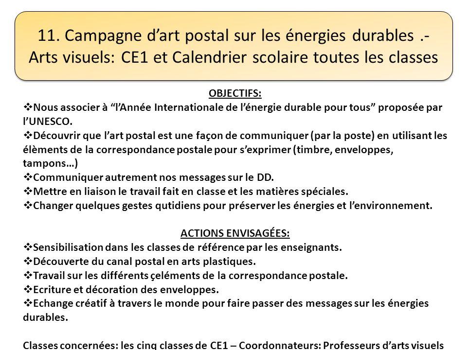 11. Campagne dart postal sur les énergies durables.- Arts visuels: CE1 et Calendrier scolaire toutes les classes OBJECTIFS: Nous associer à lAnnée Int