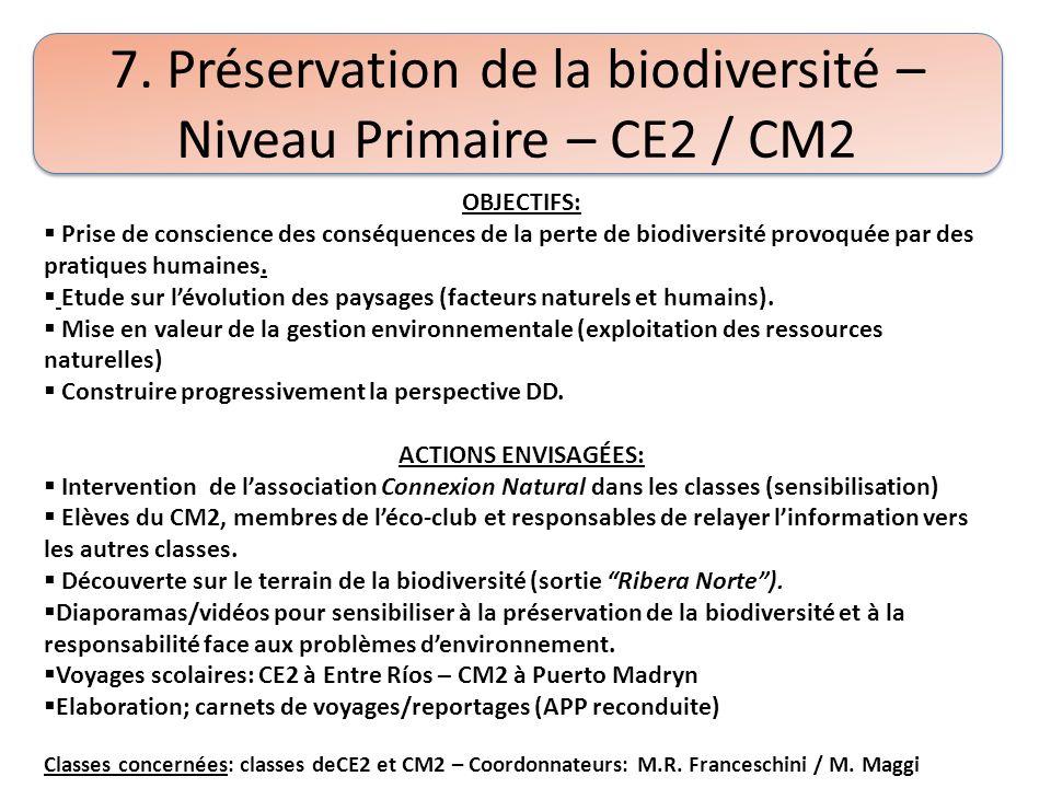 7. Préservation de la biodiversité – Niveau Primaire – CE2 / CM2 OBJECTIFS: Prise de conscience des conséquences de la perte de biodiversité provoquée