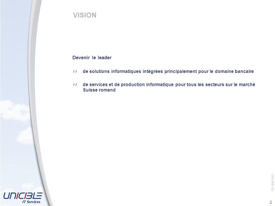 Unicible © 2 VISION Devenir le leader de solutions informatiques intégrées principalement pour le domaine bancaire de services et de production informatique pour tous les secteurs sur le marché Suisse romand