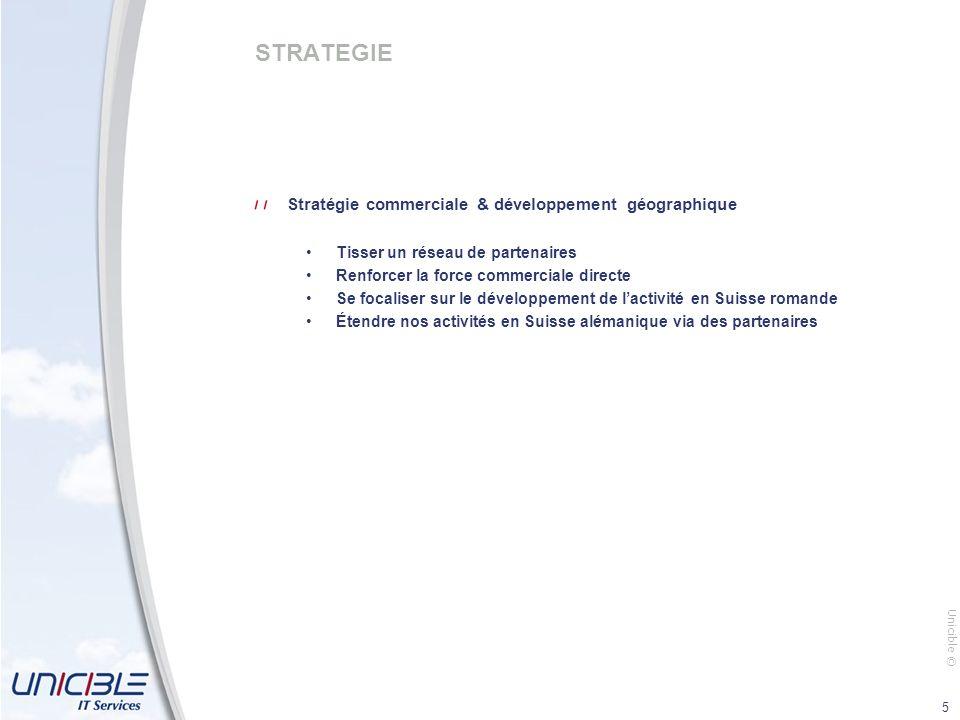 Unicible © 5 STRATEGIE Stratégie commerciale & développement géographique Tisser un réseau de partenaires Renforcer la force commerciale directe Se focaliser sur le développement de lactivité en Suisse romande Étendre nos activités en Suisse alémanique via des partenaires