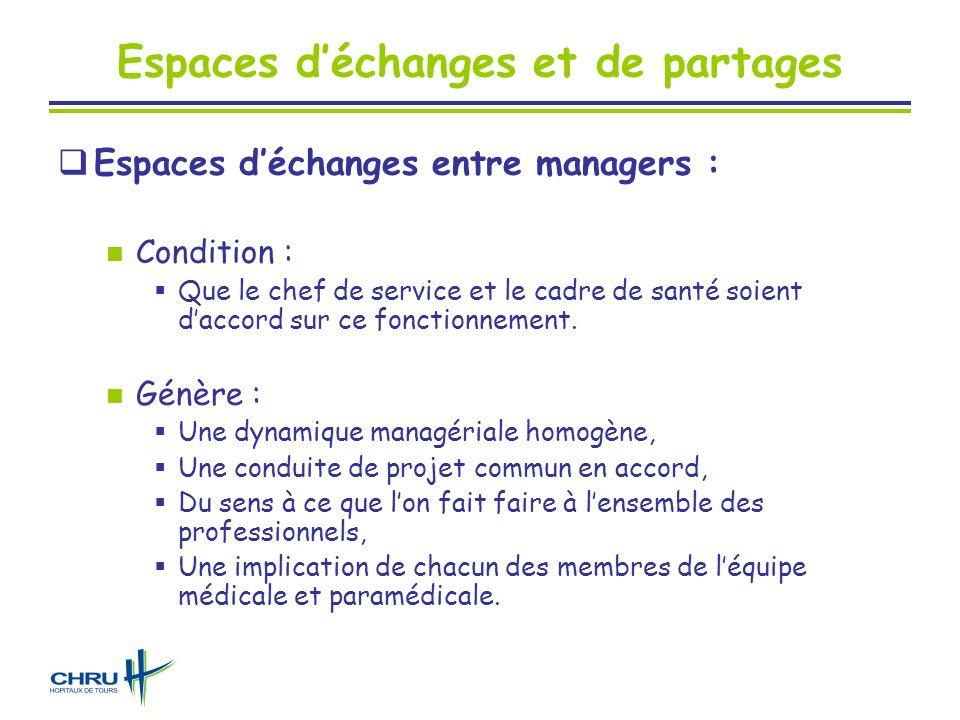 Espaces déchanges et de partages Espaces déchanges entre managers : Condition : Que le chef de service et le cadre de santé soient daccord sur ce fonc