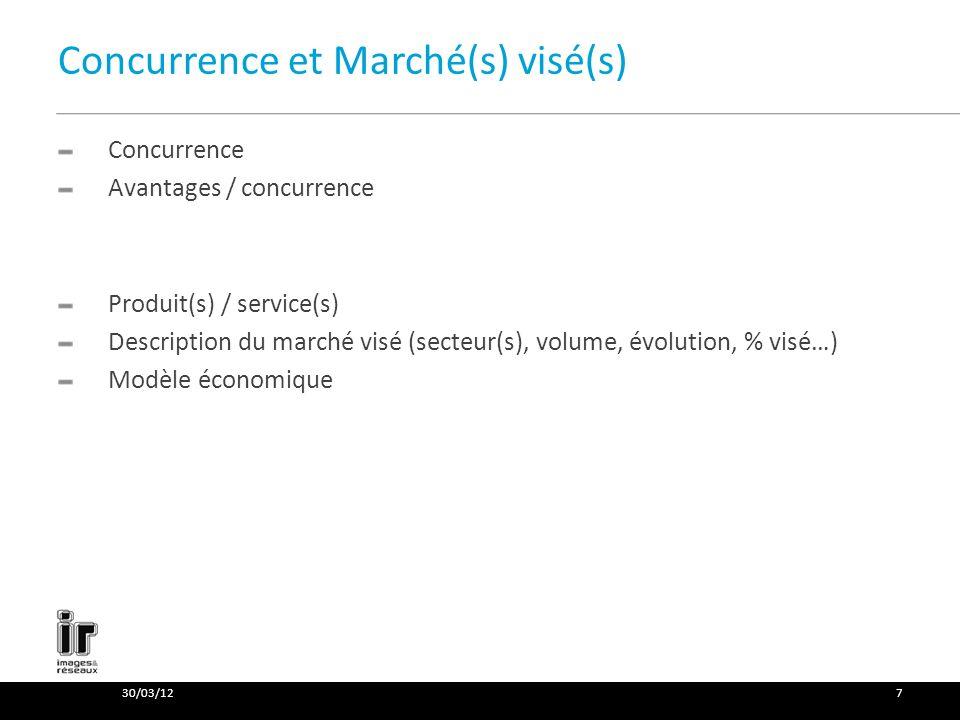 Concurrence et Marché(s) visé(s) Concurrence Avantages / concurrence Produit(s) / service(s) Description du marché visé (secteur(s), volume, évolution, % visé…) Modèle économique 30/03/127