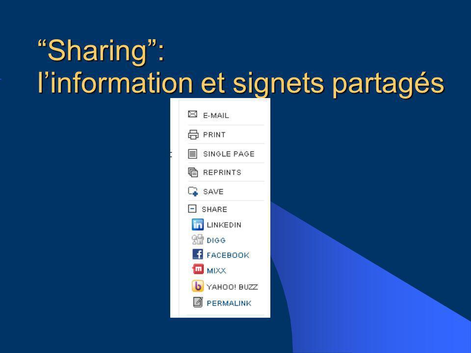 Sharing: linformation et signets partagés