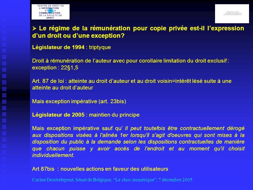 Le régime de la rémunération pour copie privée est-il lexpression dun droit ou dune exception.