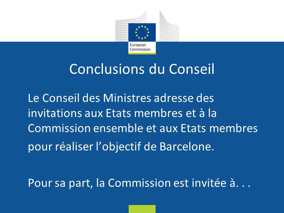 Date: in 12 pts Conclusions du Conseil Le Conseil des Ministres adresse des invitations aux Etats membres et à la Commission ensemble et aux Etats membres pour réaliser lobjectif de Barcelone.