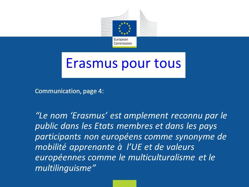 Date: in 12 pts Erasmus pour tous Communication, page 4: Le nom Erasmus est amplement reconnu par le public dans les Etats membres et dans les pays participants non européens comme synonyme de mobilité apprenante à lUE et de valeurs européennes comme le multiculturalisme et le multilinguisme