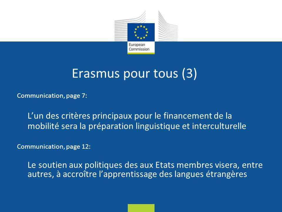 Date: in 12 pts Erasmus pour tous (3) Communication, page 7: Lun des critères principaux pour le financement de la mobilité sera la préparation linguistique et interculturelle Communication, page 12: Le soutien aux politiques des aux Etats membres visera, entre autres, à accroître lapprentissage des langues étrangères