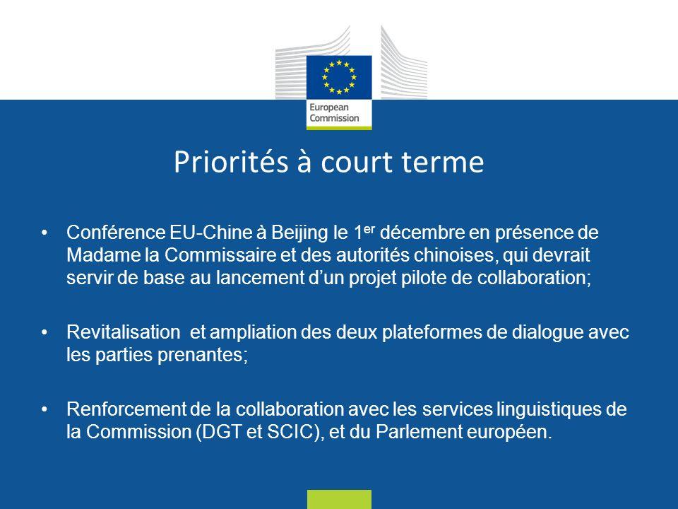 Date: in 12 pts Priorités à court terme Conférence EU-Chine à Beijing le 1 er décembre en présence de Madame la Commissaire et des autorités chinoises, qui devrait servir de base au lancement dun projet pilote de collaboration; Revitalisation et ampliation des deux plateformes de dialogue avec les parties prenantes; Renforcement de la collaboration avec les services linguistiques de la Commission (DGT et SCIC), et du Parlement européen.