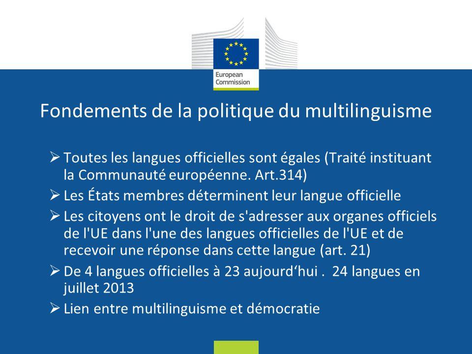 Date: in 12 pts Fondements de la politique du multilinguisme Toutes les langues officielles sont égales (Traité instituant la Communauté européenne.