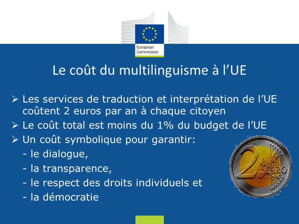 Date: in 12 pts Le coût du multilinguisme à lUE Les services de traduction et interprétation de lUE coûtent 2 euros par an à chaque citoyen Le coût total est moins du 1% du budget de lUE Un coût symbolique pour garantir: - le dialogue, - la transparence, - le respect des droits individuels et - la démocratie