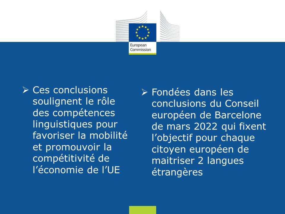 Date: in 12 pts Ces conclusions soulignent le rôle des compétences linguistiques pour favoriser la mobilité et promouvoir la compétitivité de léconomie de lUE Fondées dans les conclusions du Conseil européen de Barcelone de mars 2022 qui fixent lobjectif pour chaque citoyen européen de maitriser 2 langues étrangères