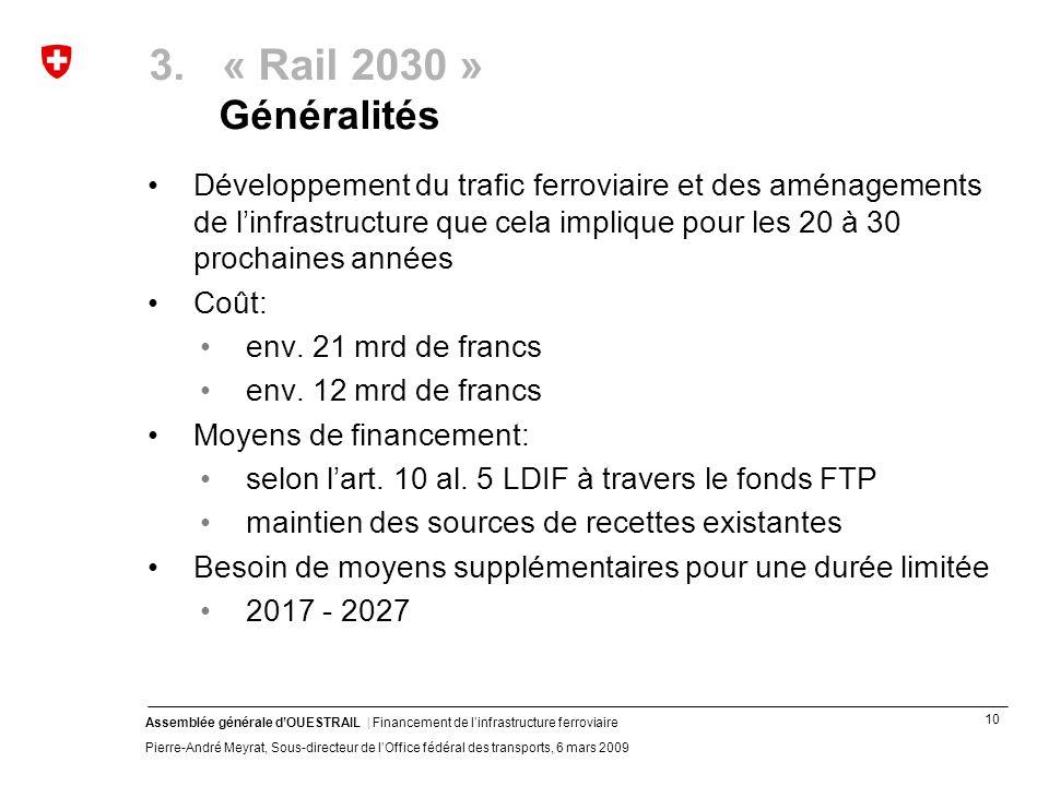 10 Assemblée générale dOUESTRAIL | Financement de linfrastructure ferroviaire Pierre-André Meyrat, Sous-directeur de lOffice fédéral des transports, 6 mars 2009 3.