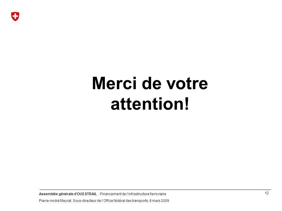 12 Assemblée générale dOUESTRAIL | Financement de linfrastructure ferroviaire Pierre-André Meyrat, Sous-directeur de lOffice fédéral des transports, 6 mars 2009 Merci de votre attention!