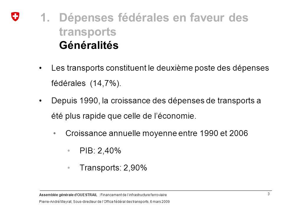 4 Assemblée générale dOUESTRAIL | Financement de linfrastructure ferroviaire Pierre-André Meyrat, Sous-directeur de lOffice fédéral des transports, 6 mars 2009 1.Dépenses fédérales en faveur des transports Croissance moyenne 1990 - 2006
