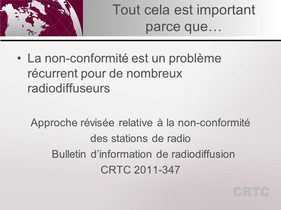 Tout cela est important parce que… La non-conformité est un problème récurrent pour de nombreux radiodiffuseurs Approche révisée relative à la non-conformité des stations de radio Bulletin dinformation de radiodiffusion CRTC 2011-347