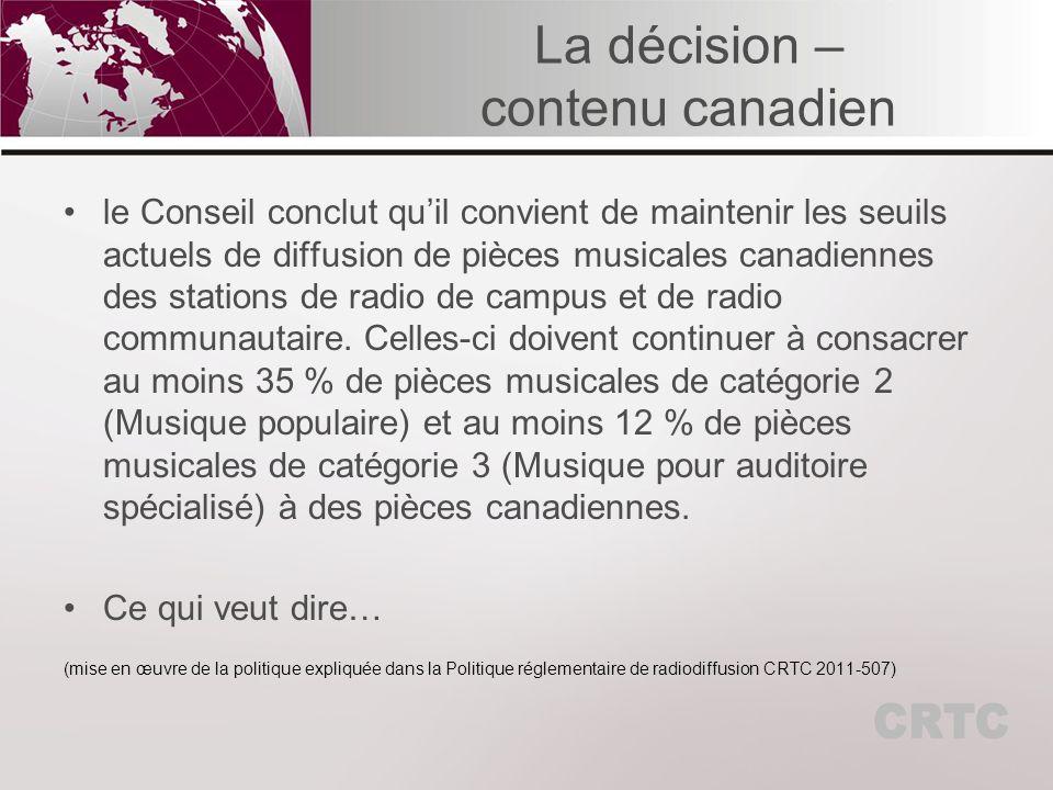 La liste des pièces musicales Le règlement de 1986 sur la radio dit, à larticle 9 (3) b) : b) la liste des pièces musicales dans lordre de leur diffusion par le titulaire au cours de la période en cause, y compris le titre et linterprète de chaque pièce et une légende qui indique : (i) les pièces musicales canadiennes, (ii) les grands succès, (iii) les pièces instrumentales, (iv) les pièces musicales de la catégorie de teneur 3, (v) la langue des pièces musicales, lorsque celles-ci ne sont pas instrumentales.