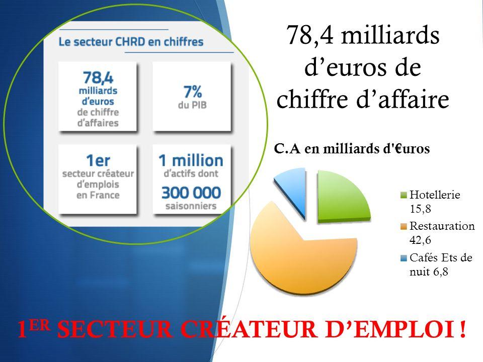 78,4 milliards deuros de chiffre daffaire 1 ER SECTEUR CRÉATEUR DEMPLOI !