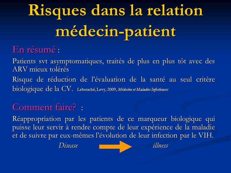 Risques dans la relation médecin-patient En résumé : Patients svt asymptomatiques, traités de plus en plus tôt avec des ARV mieux tolérés Risque de réduction de lévaluation de la santé au seul critère biologique de la CV.