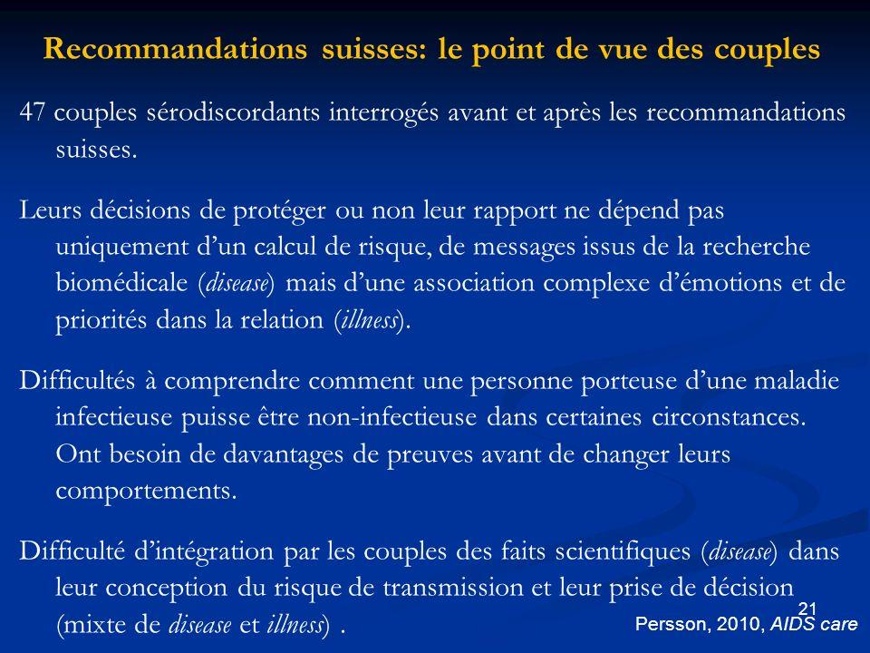 21 Recommandations suisses: le point de vue des couples 47 couples sérodiscordants interrogés avant et après les recommandations suisses.