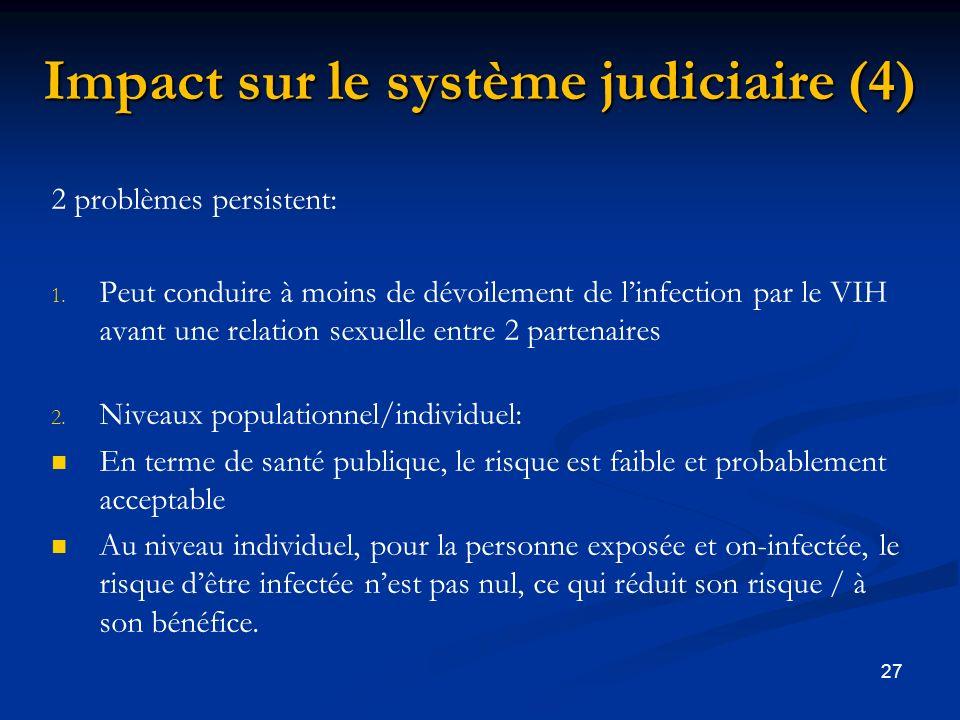 27 Impact sur le système judiciaire (4) 2 problèmes persistent: 1.
