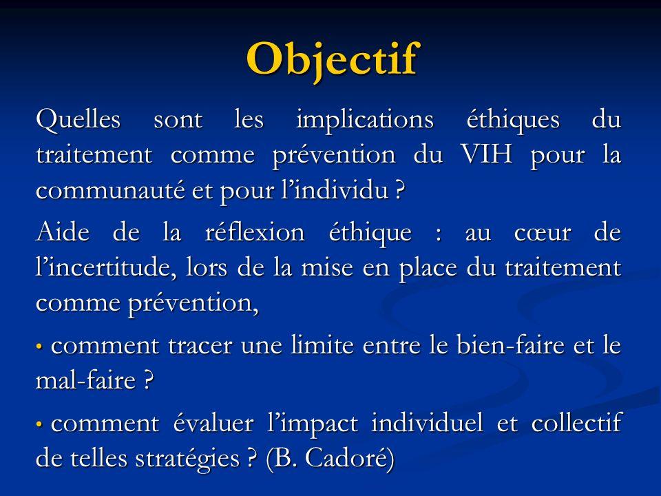 Objectif Quelles sont les implications éthiques du traitement comme prévention du VIH pour la communauté et pour lindividu .