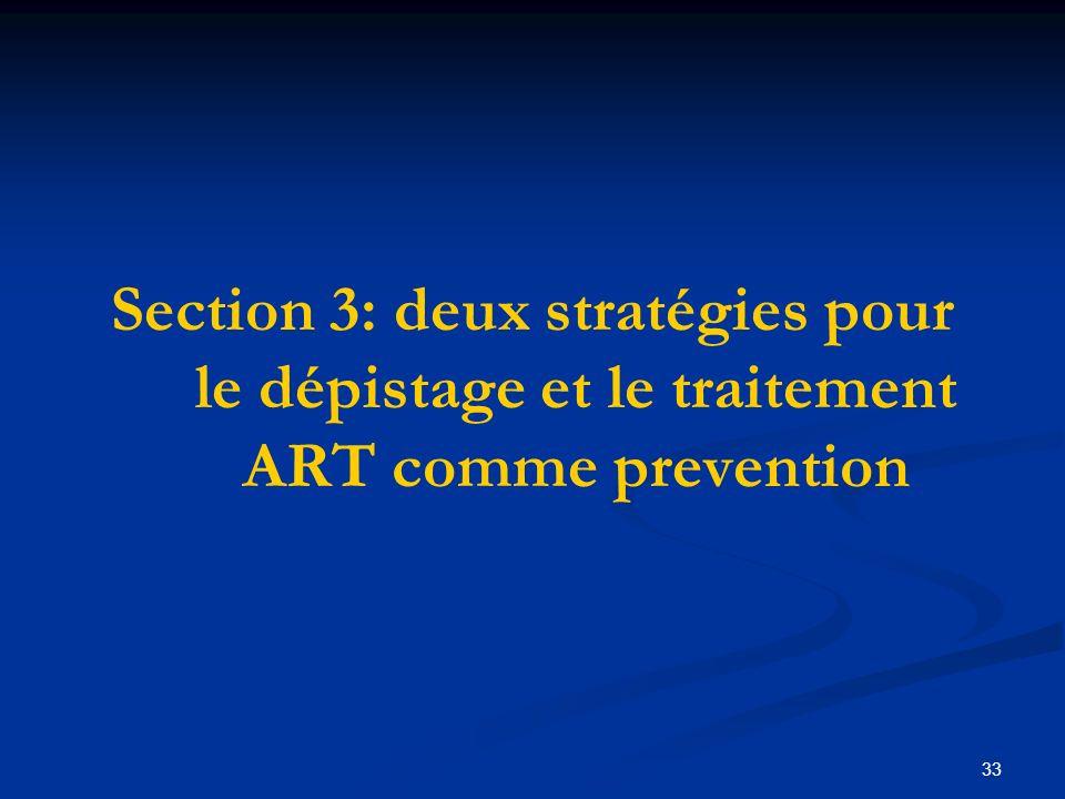 33 Section 3: deux stratégies pour le dépistage et le traitement ART comme prevention