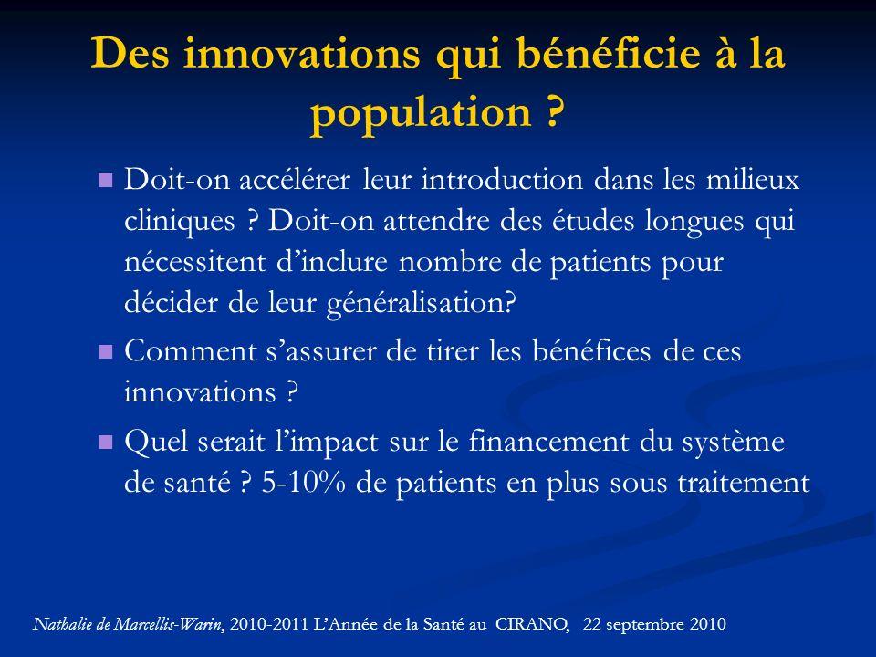 Des innovations qui bénéficie à la population .