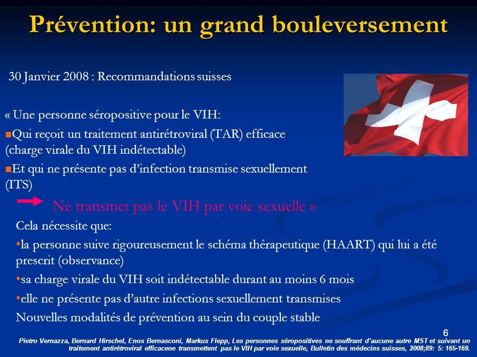 Charge virale communautaire (1) Niveau individuel: supprimer la charge virale du VIH réduit la transmission de la mère à lenfant et la transmission sexuelle du VIH Niveau populationnel: la réduction de la charge virale communautaire réduit-elle les nouvelles infections.