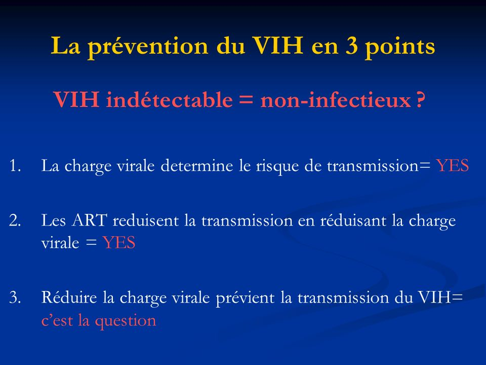 La prévention du VIH en 3 points VIH indétectable = non-infectieux .