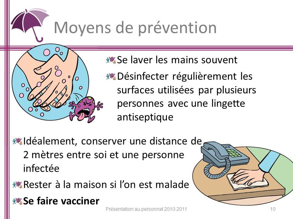 Moyens de prévention Se laver les mains souvent Désinfecter régulièrement les surfaces utilisées par plusieurs personnes avec une lingette antiseptiqu