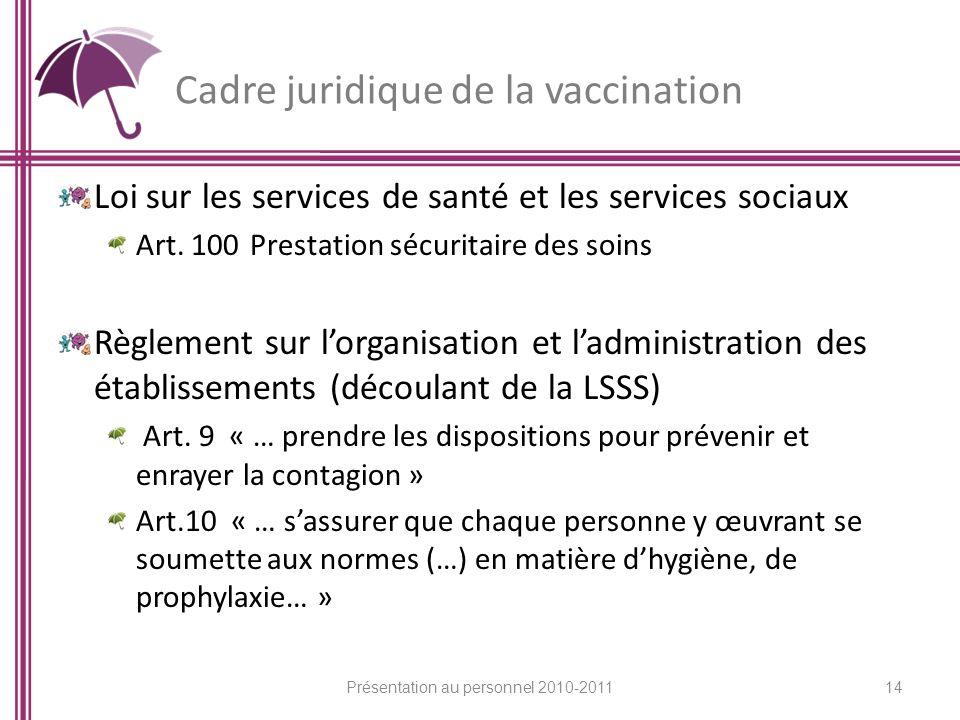 Cadre juridique de la vaccination Loi sur les services de santé et les services sociaux Art. 100 Prestation sécuritaire des soins Règlement sur lorgan
