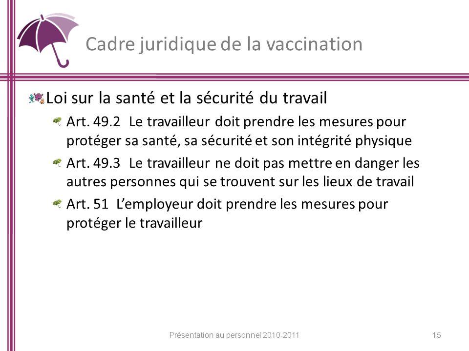 Cadre juridique de la vaccination Loi sur la santé et la sécurité du travail Art. 49.2 Le travailleur doit prendre les mesures pour protéger sa santé,