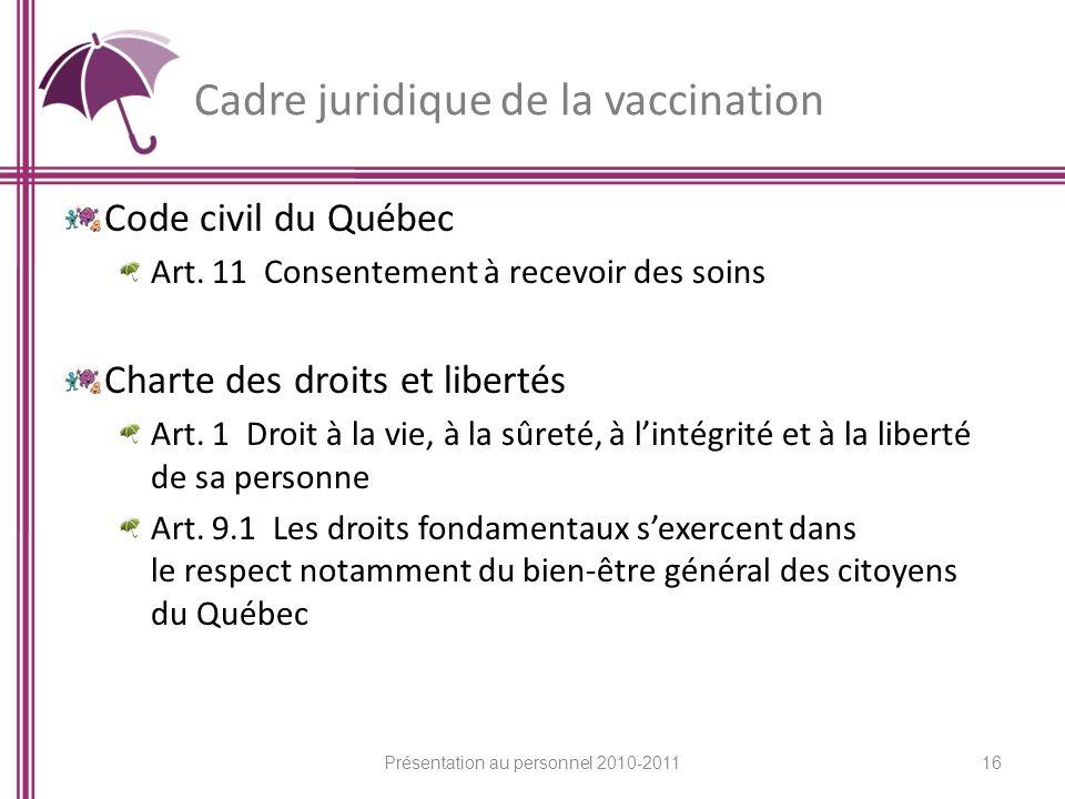Cadre juridique de la vaccination Code civil du Québec Art. 11 Consentement à recevoir des soins Charte des droits et libertés Art. 1 Droit à la vie,