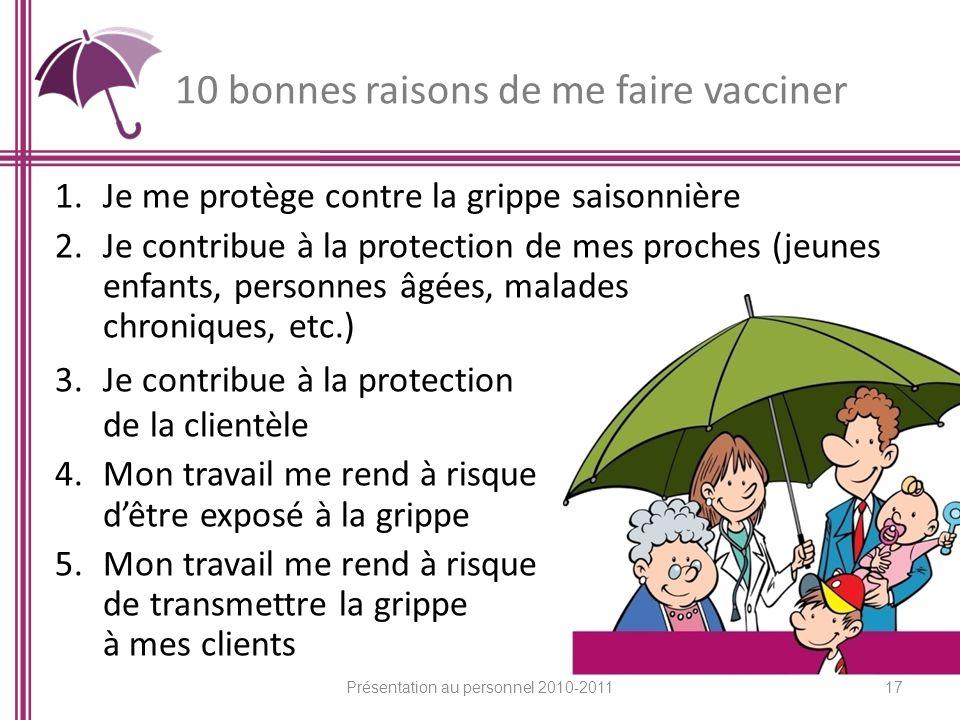 10 bonnes raisons de me faire vacciner 17 1.Je me protège contre la grippe saisonnière 2.Je contribue à la protection de mes proches (jeunes enfants,
