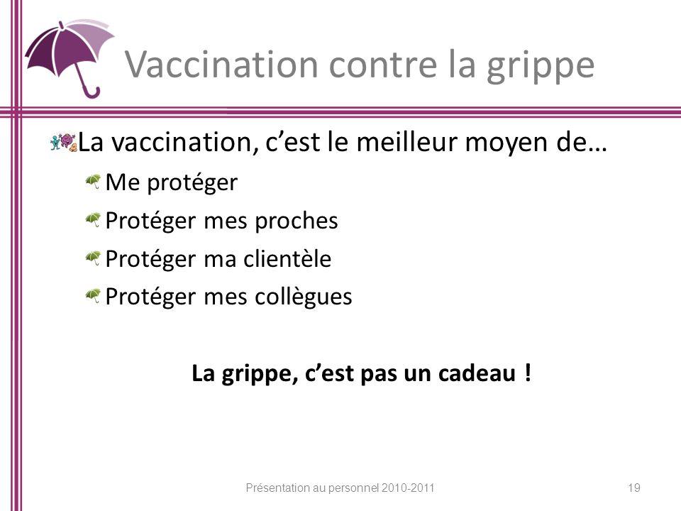 Vaccination contre la grippe La vaccination, cest le meilleur moyen de… Me protéger Protéger mes proches Protéger ma clientèle Protéger mes collègues