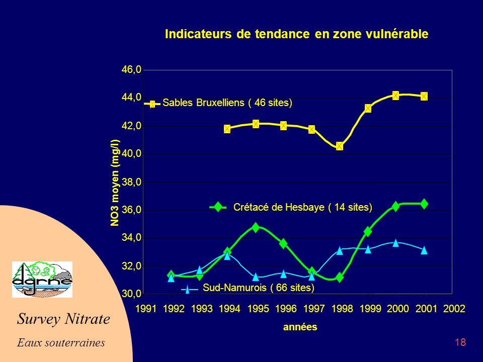 Survey Nitrate Eaux souterraines 18 Indicateurs de tendance en zone vulnérable 30,0 32,0 34,0 36,0 38,0 40,0 42,0 44,0 46,0 199119921993199419951996199719981999200020012002 années NO3 moyen (mg/l) Sables Bruxelliens ( 46 sites) Crétacé de Hesbaye ( 14 sites) Sud-Namurois ( 66 sites)
