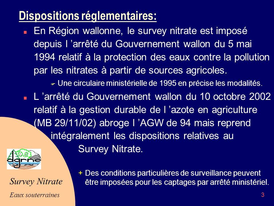 Survey Nitrate Eaux souterraines 3 Dispositions réglementaires: n En Région wallonne, le survey nitrate est imposé depuis l arrêté du Gouvernement wallon du 5 mai 1994 relatif à la protection des eaux contre la pollution par les nitrates à partir de sources agricoles.