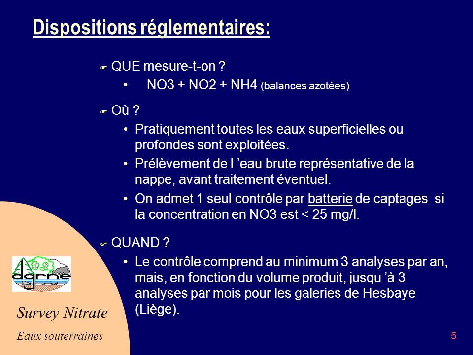 Survey Nitrate Eaux souterraines 5 Dispositions réglementaires: F QUE mesure-t-on .