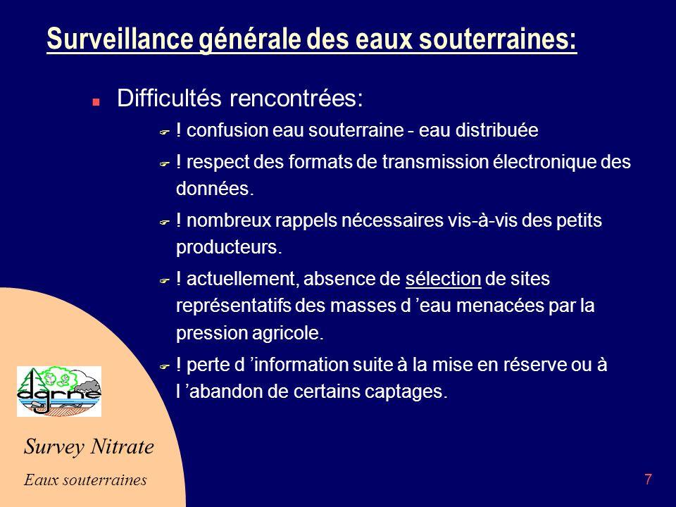 Survey Nitrate Eaux souterraines 7 Surveillance générale des eaux souterraines: n Difficultés rencontrées: F .