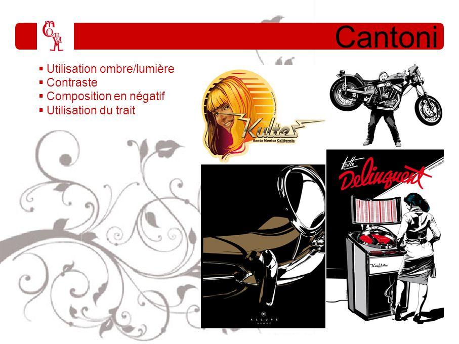 Cantoni Utilisation ombre/lumière Contraste Composition en négatif Utilisation du trait