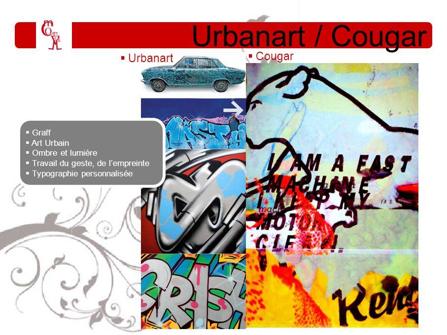 Urbanart / Cougar Cougar Graff Art Urbain Ombre et lumière Travail du geste, de lempreinte Typographie personnalisée Urbanart