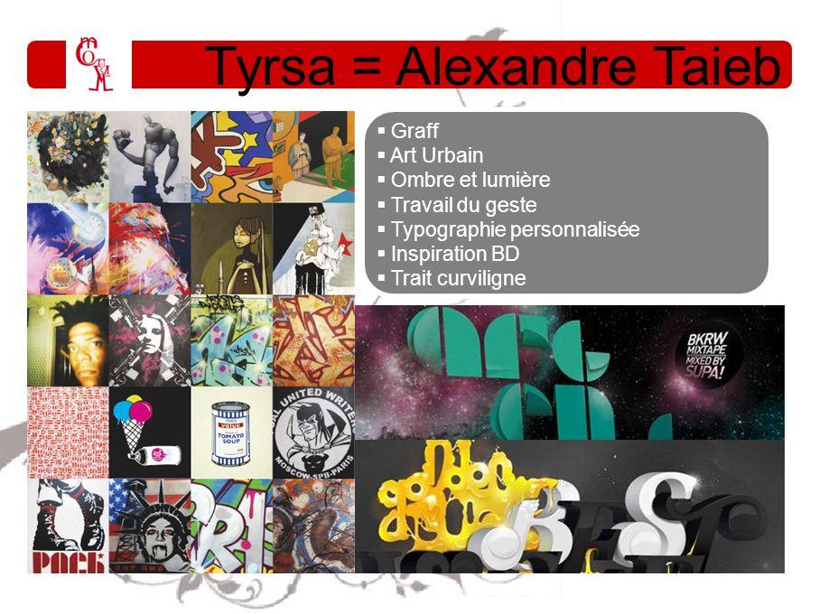 Tyrsa = Alexandre Taieb Graff Art Urbain Ombre et lumière Travail du geste Typographie personnalisée Inspiration BD Trait curviligne