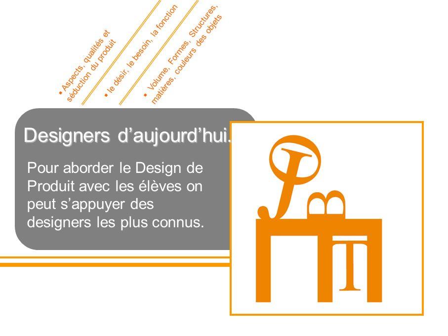 Designers daujourdhui. Pour aborder le Design de Produit avec les élèves on peut sappuyer des designers les plus connus. Aspects, qualités et séductio