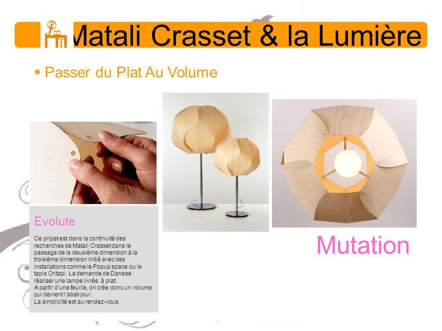 Matali Crasset & la Lumière Passer du Plat Au Volume Evolute Ce projet est dans la continuité des recherches de Matali Crasset dans le passage de la d