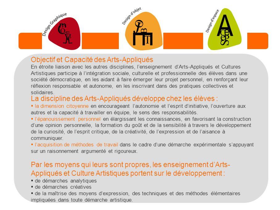 Objectif et Capacité des Arts-Appliqués En étroite liaison avec les autres disciplines, lenseignement dArts-Appliqués et Cultures Artistiques particip