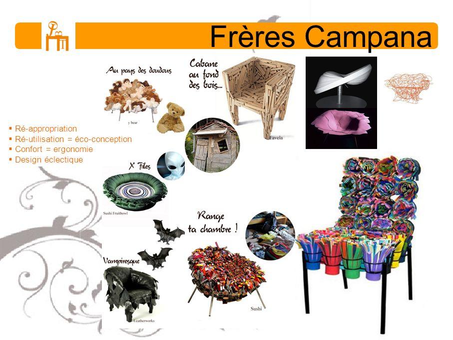 Frères Campana Ré-appropriation Ré-utilisation = éco-conception Confort = ergonomie Design éclectique