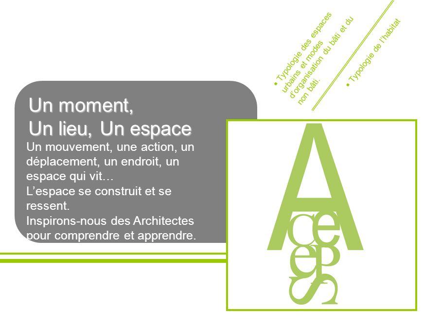 Un moment, Un moment, Un lieu, Un espace Un lieu, Un espace Un mouvement, une action, un déplacement, un endroit, un espace qui vit… Lespace se constr