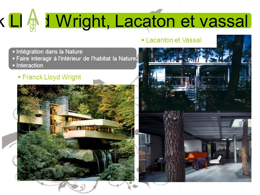 Franck Lloyd Wright, Lacaton et vassal Intégration dans la Nature Faire interagir à lintérieur de lhabitat la Nature Interaction Franck Lloyd Wright L