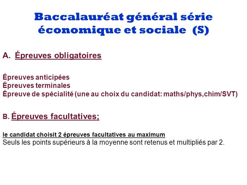 Baccalauréat général série économique et sociale (S) Liste des épreuvesCoefficientsNature de l épreuveDurée 1.