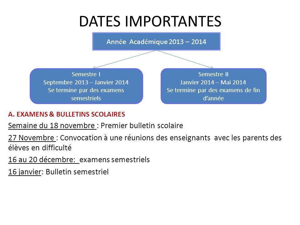 DATES IMPORTANTES A.